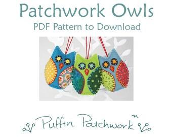 Owl PDF pattern, Felt owl ornament pattern, Owl sewing pattern, Felt Christmas ornament pattern, Handmade owl ornaments, Patchwork owls