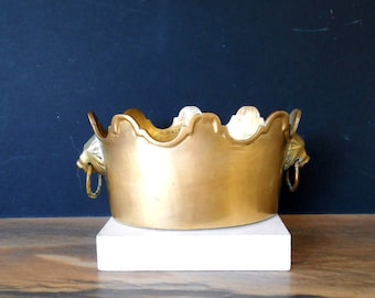Vintage Brass Planter with Lion Heads, Solid brass pot  with decorative Crown  edge detail ,two lion heads and hanging rings
