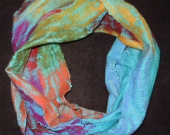 loop scarf made from wool and  silk handmade