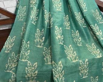 SALE 30% Teal Green Handloom Khadi Silk Fabric, Batik Floral Print, Dress Costume Apparel Fabric, Indian Silk Fabric By Yard BTPG01