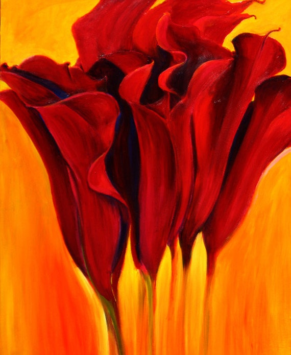 Flowers Similar To Lilies: Items Similar To Calla Lily Flower Painting- Large Red