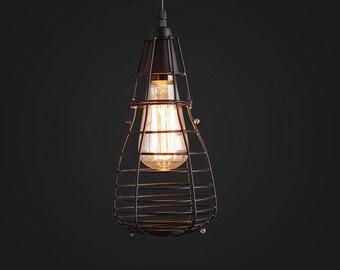 Black Cage Pendant - hanging lamp - ceiling lighting - pendant lamp - edison bulb - industrial style - vintage lamp  - Edison bulb lamp