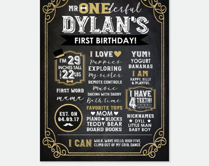 Mr ONEderful Board, First Birthday Chalkboard, Birthday Stats Poster, Little Gentleman, Milestone Poster, Personalized Printable Board