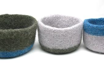WOOLY FELTED BOWLS - three felted nesting bowls - army green, petrol , blue, grey, ash* 15