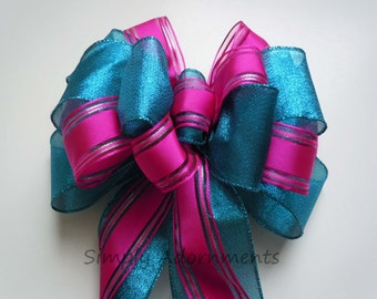 Teal Pink Christmas Wreath Wedding Pew Bow Pink Teal Church Pew Decor Bridal shower Decor Wedding Aisle decor Blue Pink Birthday Party Decor