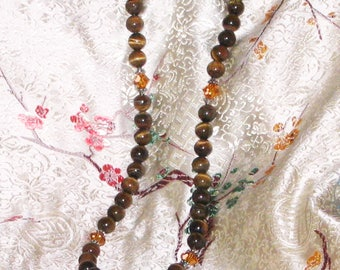 Tiger Eye and Swarovski Crystal Necklace
