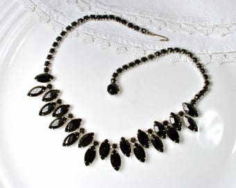 Vintage WEISS Black Rhinestone Necklace, Silver Bridal Statement Old Hollywood Glam Wedding Jewelry, 1950s 1960s Bib Collar Mother of Bride