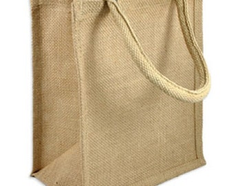 Jute Shopping Tote Bag DIY Unfinished Ready to Paint/Print/ Decorate 9 x 11 x 4