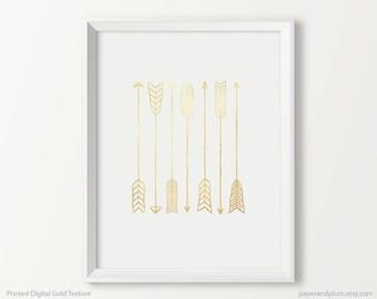Matte Gold Texture Seven Arrows Print, Nursery wall art, Tribal Nursery Art, Nursery Arrows, Gold Art Print, Gold Wall Art, Gold Home Decor