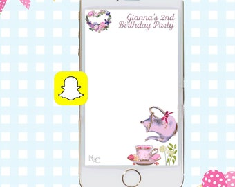 Tea Party Snapchat GeoFilters, Birthday Snapchat Filters, Tea Party Snapchat Filter, Snapchat GeoFilter, Tea Party Birthday Party, Tea Time