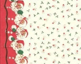 FABRIC Vintage Style  SANTA Kitchen Towel fabric Santa Claus  1 Yard     We combine shipping
