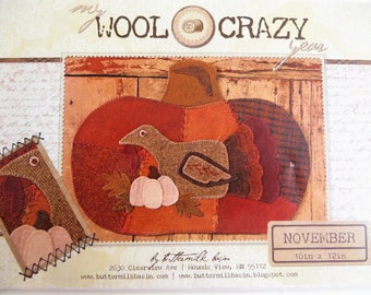 November BOM, Wool Applique Pattern, My Wool Crazy Year, Turkey Pumpkin, Buttermilk Basin 1063, Felt Applique, Folk Art Pattern, Quilt BOM