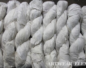Pure Sari Silk, White Silk, Per Skein, Recycled Sari Silk,Textile, Art Yarn, White Ribbon, Ribbon, Sari, Artwear Elements, #14b
