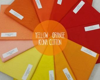 Yellow & Orange Kona Cotton Bundle from Robert Kaufman's Kona Cotton Collection - 11 Fabrics