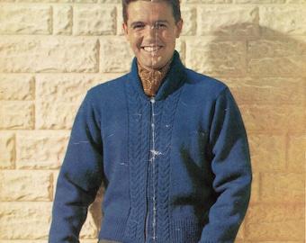 mens zipper cardigan knitting pattern vintage 1950s 38-44inches DK mens knitting patterns PDF instant download