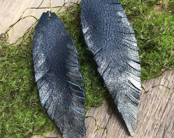 Leather Feather Earrings - Onyx Black with Gold Dust