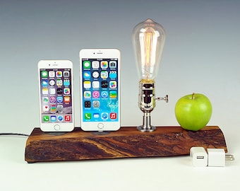 Live edge Walnut Dual docking station with lamp for ANY iPhone, Edison bulb dock lamp for any two iPhones.  USA. #771.