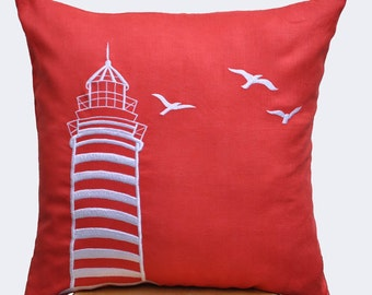 Lighthouse Pillow Cover,  Decorative Pillow, Couch Pillow, Accent Pillow, Red Orange Linen Pillow White embroidery, Nautical Pillow Case