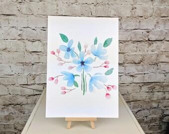 """Blue Flower Fine Art Giclee Print // A4 12""""x8"""" Wall Art"""
