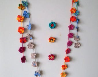 DIY Projects Pattern,Two designs (2 in 1) Crochet Pattern,Wrap Necklace Pattern, Brooch, Hair Clip, Flower Pattern, Wrap Scarf Pattern