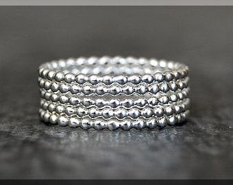 Set of 5 Beaded Sterling Silver Rings, Sterling Silver Stacking Rings, Full Bead Silver Stacking rings, Bauble Rings, Dottie Rings