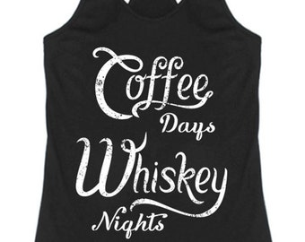 Coffee Days and Whiskey Nights Racerback Tank Top Graphic Shirt