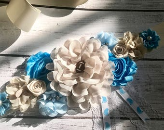 Soccer Ball Maternity Sash Boy /Dad to be Corset It's a boy Flower sash Belly Sash Gender Reveal Party Baby Shower Gift Keepsake