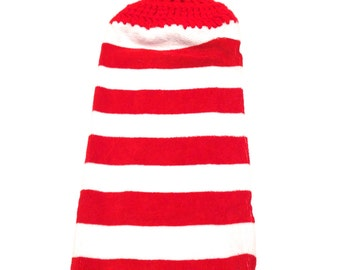 Red And White Striped Hand Towel With Red Crocheted Top