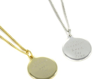 Birdhouse Jewelry - Custom Inscription Necklace  - Choose Gold or Silver