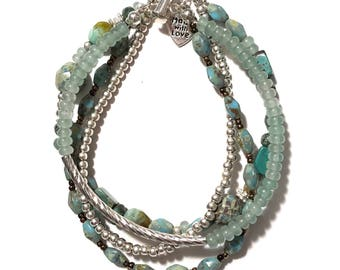 Turquoise, jade and silver bracelet