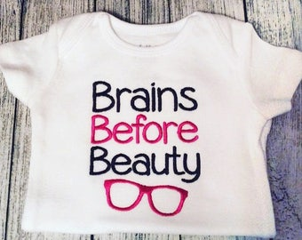 Brains Before Beauty Glasses Embroidery Design 4x4 -INSTANT DOWNLOAD-