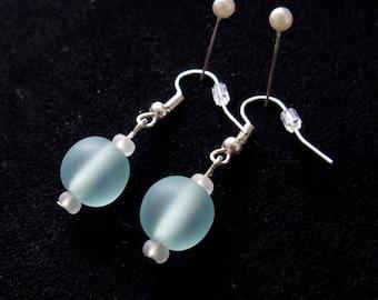 Seagreen Glass Bead Earrings