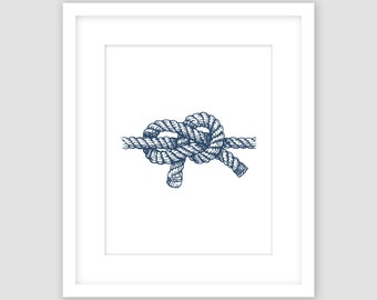 Nautical Knot Print, Navy Rope Print, Navy Blue Nautical Wall Art, Beach Decor, Modern Art, Instant Download, DIY, Printable