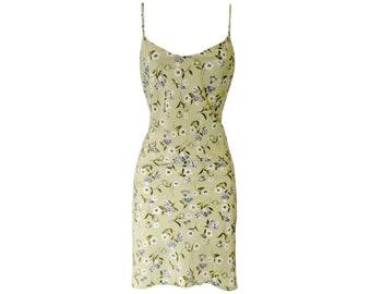 Vintage Slip Dress Grunge 90s Mint Green Ditsy Floral Size Medium
