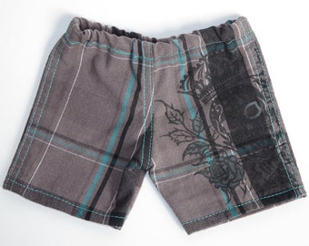 Fits Like American Girl Doll Clothes.  18-Inch Boy Doll Shorts.  Upcycled Plaid Skull Crown Shorts.  Grey and Turquoise.