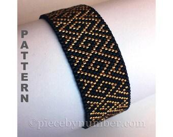 Spiral Brocade peyote stitch beadwork bracelet pattern, gourd stitch, geometric, Delica beads