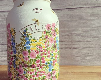 Hand Decorated Mason Jar - bee, flowers, floral, handmade, gifts, personalised gift.