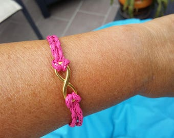 Pink fuschia with gold infinity sign bracelet