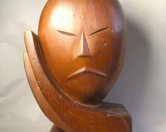 An Antique Carved Wood Asian Art Deco Modernist Scuplture Z36