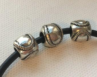 Softball / Baseball Large Hole Bead (3) great for bracelet or ribbon slider