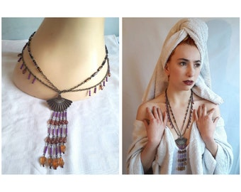 70's/80's Multi-chain Necklace with Purple and Orange Beads and Fan Pendant