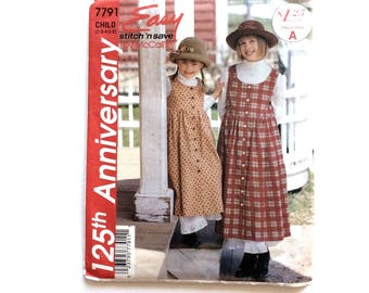 Easy Stitch 'N Save 7791, McCall's, Girls' Jumper and Petticoat Pattern, Size 2-6, Vintage Uncut Pattern