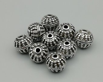 1 Sterling Silver 10mm Dotted Bead | 925 Sterling Silver Beads | BP51