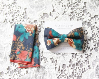 Men's Bow Tie Pre-tied Bow Tie For Men - Floral Bow Tie Navy Blue Bow Tie - Mens Gift Wedding Gifts Rustic Bow Tie Boho Wedding Groom Bow