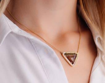 Watermelon Tourmaline Necklace, Pave Diamond Necklace, Gold Tourmaline Necklace, One of a kind necklace, Gift for her, Unique Necklace