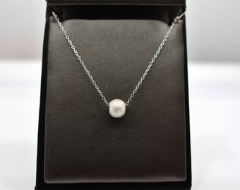 Sterling Silver Laser Cut Ball Pendant Necklace