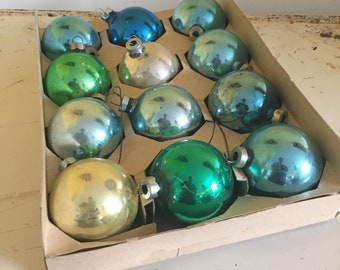 Set of Twelve Vintage Glass Ball Ornaments in Blue and Green