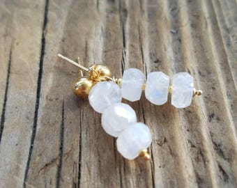 Rainbow Moonstone Earrings and 24k Gold Vermeil, June Birthstone, 18k Gold Stud Earrings, Pierced Earrings, Moonstone Jewelry,