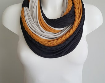 Scarf necklace, T shirt scarf, t shirt infinity scarf, circle scarf, fabric scarf, cotton fabric scarf, Unique scarf, Mustard scarf