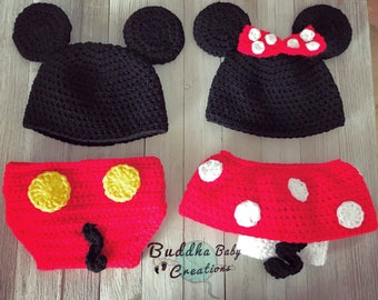 Newborn Twin Mickey and Minnie Mouse Set Outfit